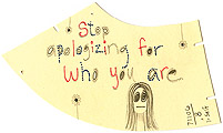 The Journal Project by Carol Es - Stop Apologizing for Who You Are, mixed media on garment pattern